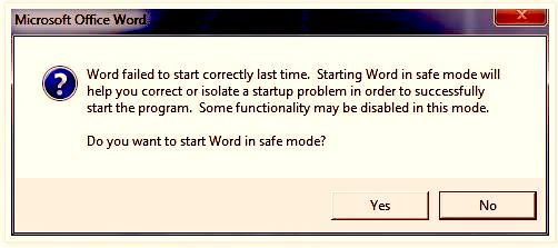 "Mengatasi Microsoft Word 2007 ""Word Failed to start correctly last time. Starting Word In Safe Mode…"""