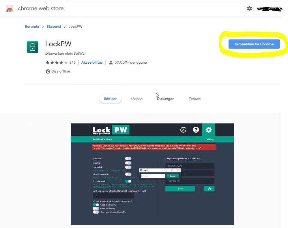 Cara proteksi google chrome dengan Lock PW